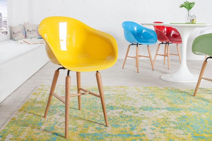 KARE DESIGN Designklassiker Stuhl FORUM gelb mit großer Sitzschale und Stuhlbeinen aus Buche