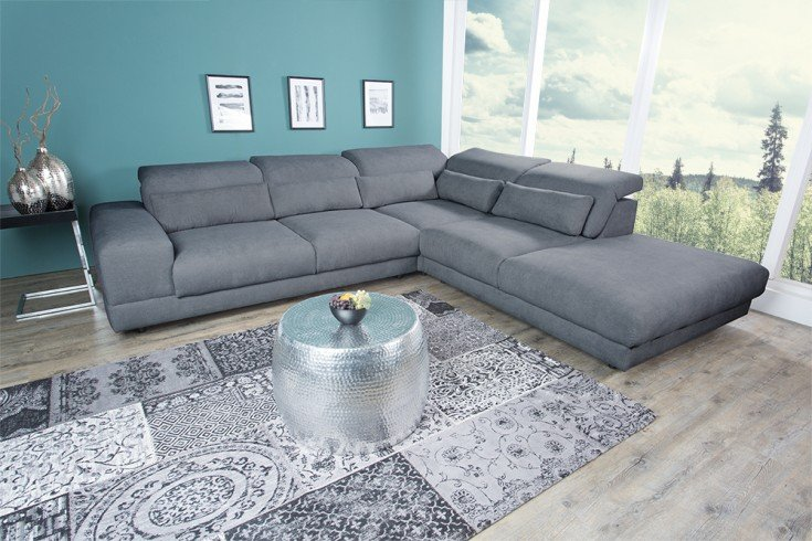 Moderne Wohnlandschaft MILANO 302cm grau Eckcouch inkl. Kissen