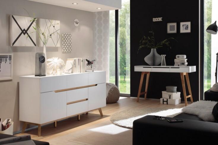 Design Sideboard CERVO Kommode edelmatt lackiert kombiniert mit hochwertiger massiver Eiche