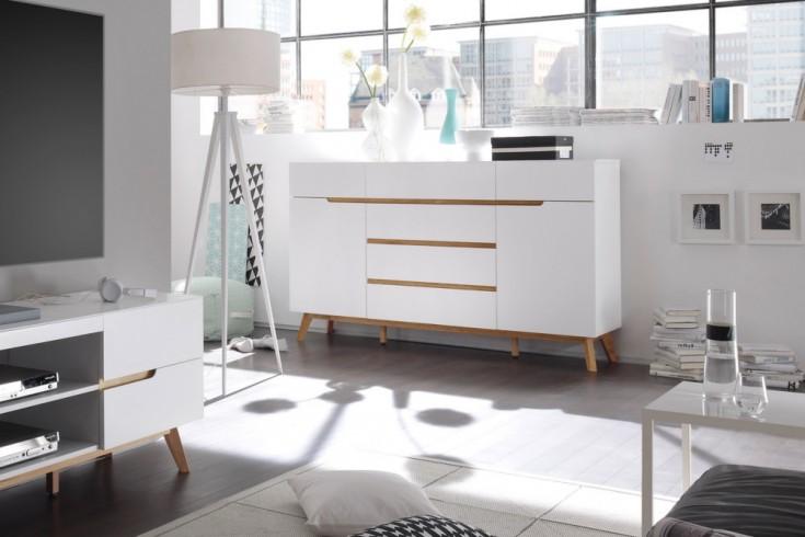 Design Sideboard CERVO edelmatt lackiert kombiniert mit hochwertiger massiver Eiche