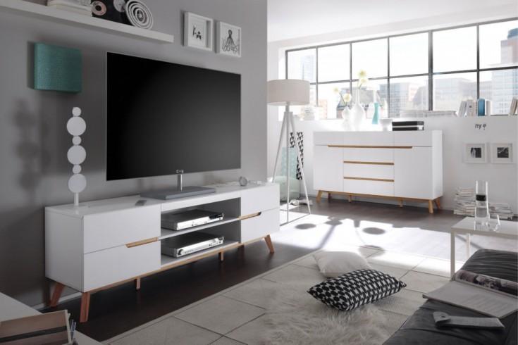 Design TV-Lowboard CERVO edelmatt lackiert kombiniert mit hochwertiger massiver Eiche Original MCA