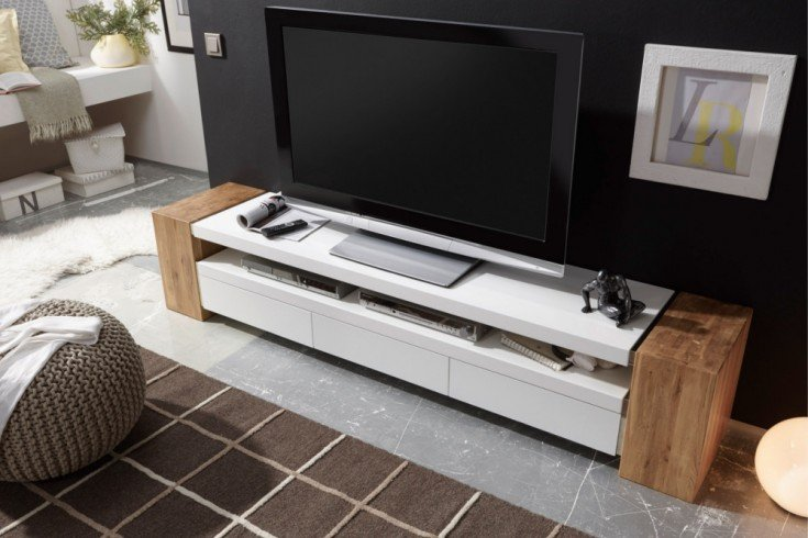 Design TV-Lowboard JULE II 200cm edelmatt lackiert mit hochwertiger Eiche kombiniert