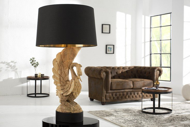 Handgearbeitete Tischlampe SWAN 90cm Akazienholz Schwan Tischleuchte