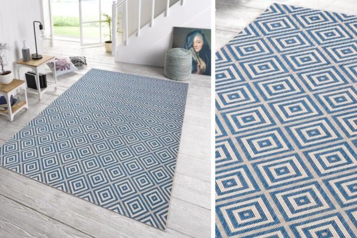 Eleganter In- & Outdoorteppich LOTUS 160x230cm Karo blau Lotus Summer Collection