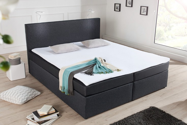 modernes boxspringbett sky anthrazit 140x200 cm hotelbett. Black Bedroom Furniture Sets. Home Design Ideas