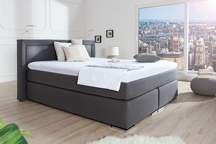 premium boxspringbett president 180x200 cm anthrazit inkl. Black Bedroom Furniture Sets. Home Design Ideas