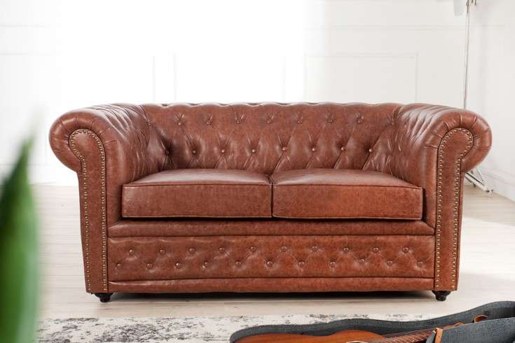 Design Chesterfield Sofa 2-Sitzer 170 cm Old Cigar Patina Finish antik