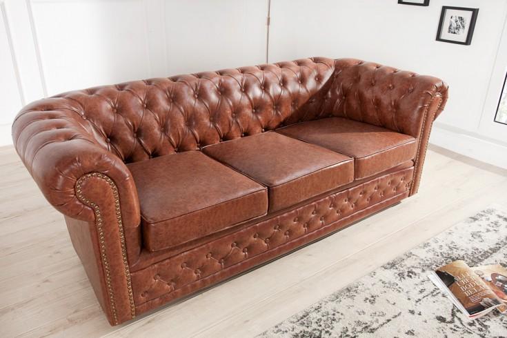 Design Chesterfield Sofa 3-Sitzer 210 cm Old Cigar Patina Finish antik