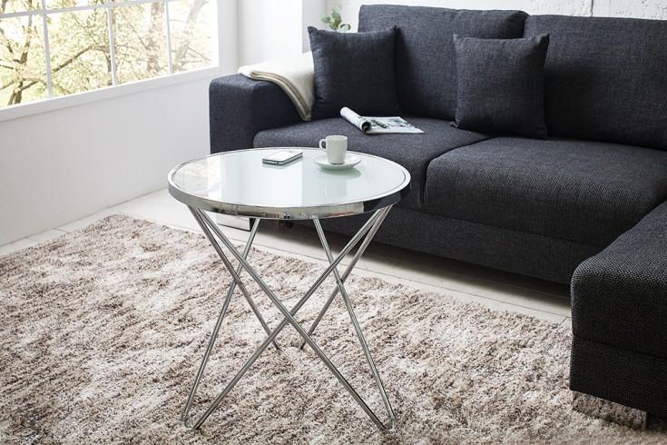 stylischer design couchtisch orbit 55 cm chrom opal wei riess. Black Bedroom Furniture Sets. Home Design Ideas