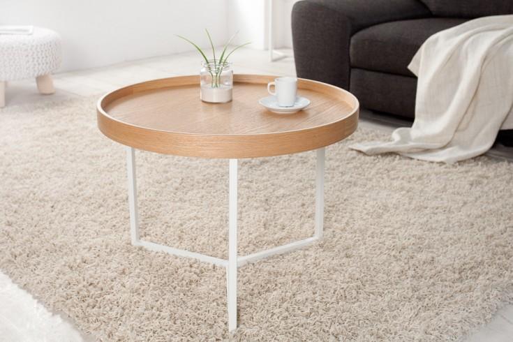extravaganter couchtisch cupid wei eiche natur rund inkl tablett riess ambiente onlineshop. Black Bedroom Furniture Sets. Home Design Ideas