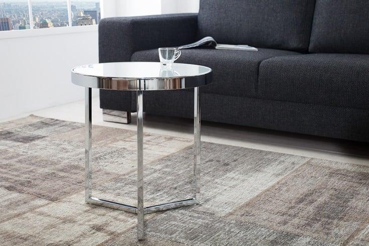 Design Beistelltisch Original ASTRO 50 cm chrom / weiß Couchtisch