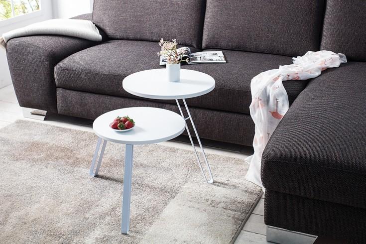 Stylischer Beistelltisch TWIN 55 cm weiß Dreibein Couchtisch mit zwei Tischplatten