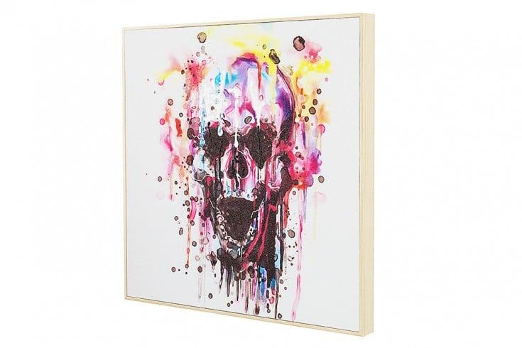 Handgemaltes Ölgemälde REBELL hochwertiges Original in Galerie Qualität Totenkopf Bild 50 x 50 cm