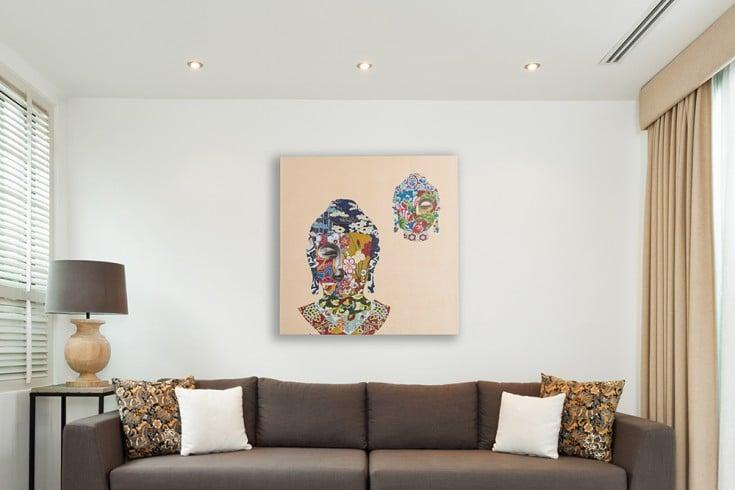 Handgemaltes Ölgemälde BUDDHA NIRVANA hochwertiges Original in Galerie Qualität 80 x 80 cm