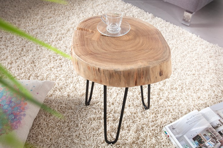 Design Beistelltisch GOA Hocker Baumstamm Scheibe Akazie mit 6 cm dicker Tischplatte