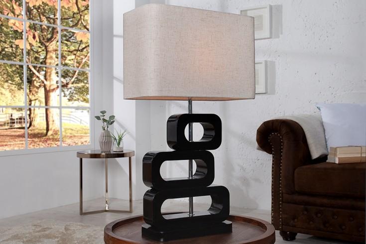 Exklusive Tischlampe LARA 65cm schwarz mit naturfarbenem Lampenschirm im Retro Look