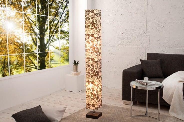 Edle Design Stehleuchte PARIS FLORAL 120 cm schwarz weiß Lampensäule