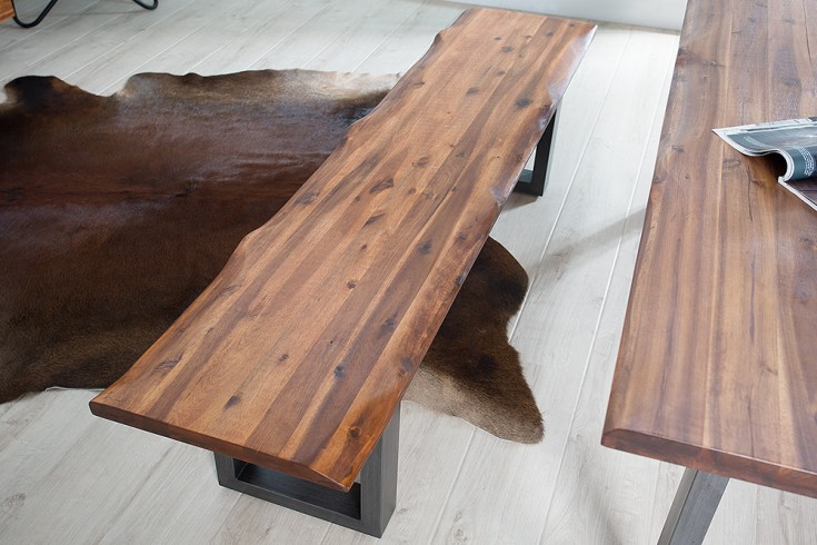 massive baumstamm bank genesis 180 cm akazie massivholz baumkante sitzbank mit kufengestell. Black Bedroom Furniture Sets. Home Design Ideas