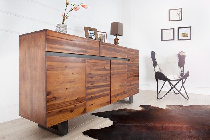 Massives Baumstamm Sideboard GENESIS 170 cm Akazie Massivholz Baumkante mit Kufengestell Industrial Finish