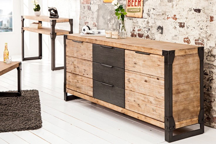 massives sideboard im industrial design riess. Black Bedroom Furniture Sets. Home Design Ideas