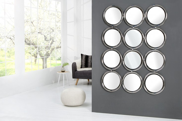 Großer Design Wandspiegel CIRCLE silber 130 cm Spiegel