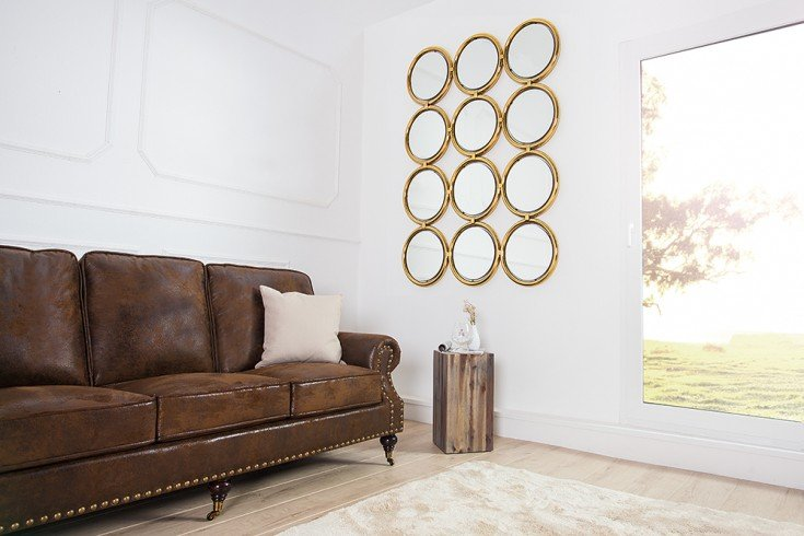 Großer Design Wandspiegel CIRCLE gold 130 cm Spiegel
