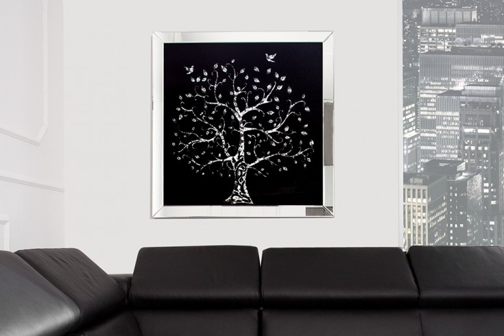 Extravagantes Bild MIRROR TREE 80x80cm Glaskristalle Wanddeko