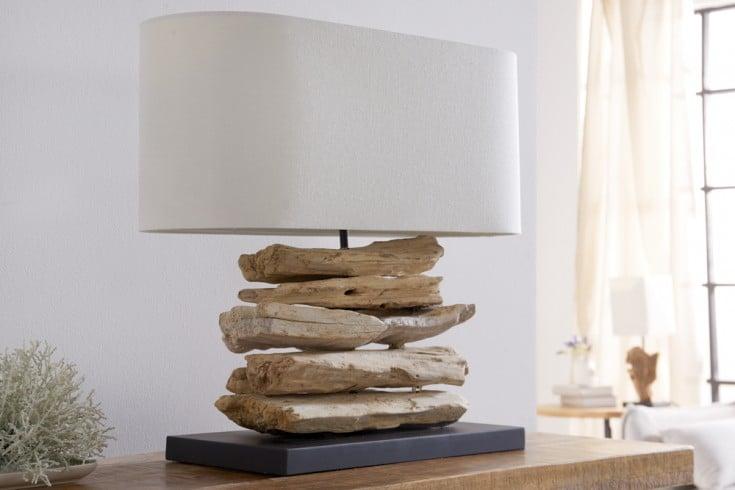 Handgearbeitete Treibholz Lampe RIVERINE 55cm creme Leinenschirm Tischleuchte