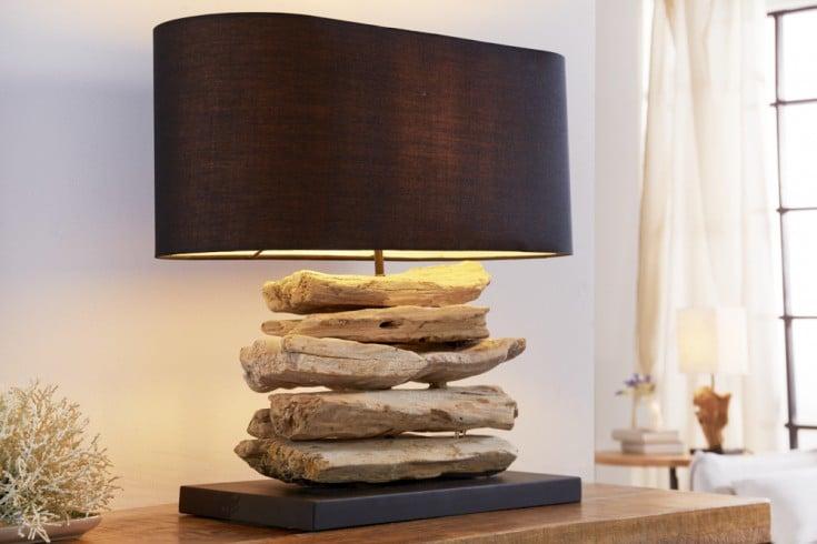 Handgearbeitete Treibholz Lampe RIVERINE 55cm schwarz Leinenschirm Tischleuchte