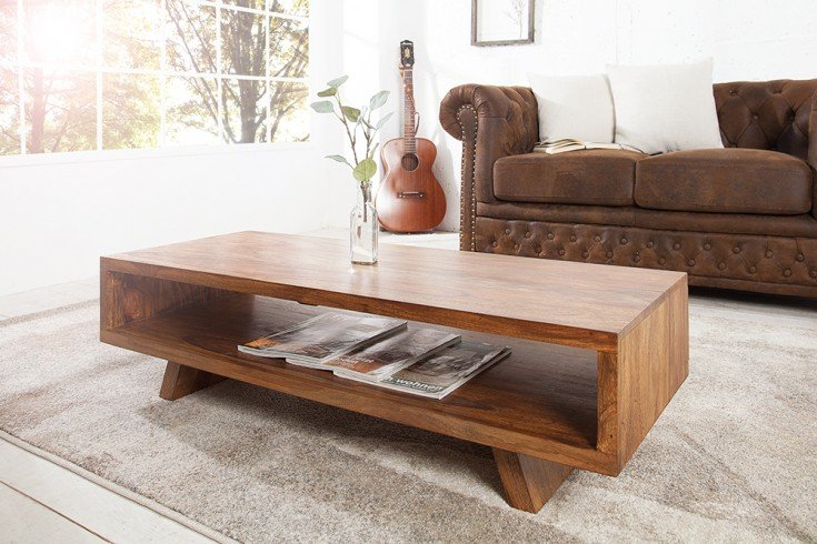 Design Couchtisch RETRO 110 cm Sheesham Stone Finish TV Board Design Klassiker