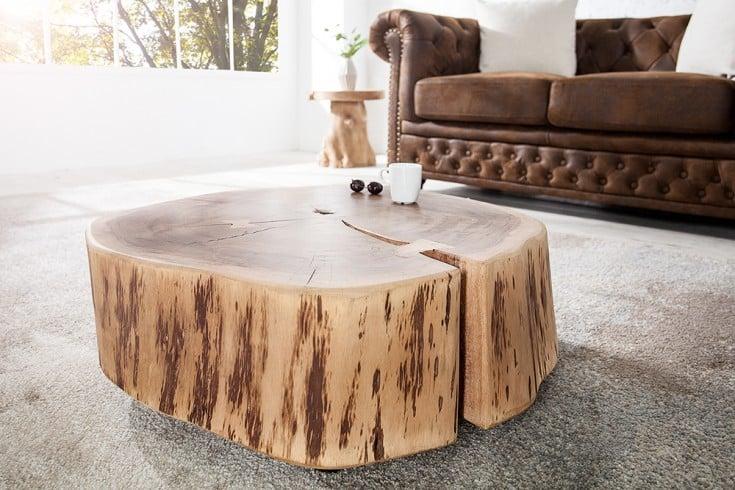 Original Baumstamm Couchtisch GOA 65 cm Akazie Massivholz