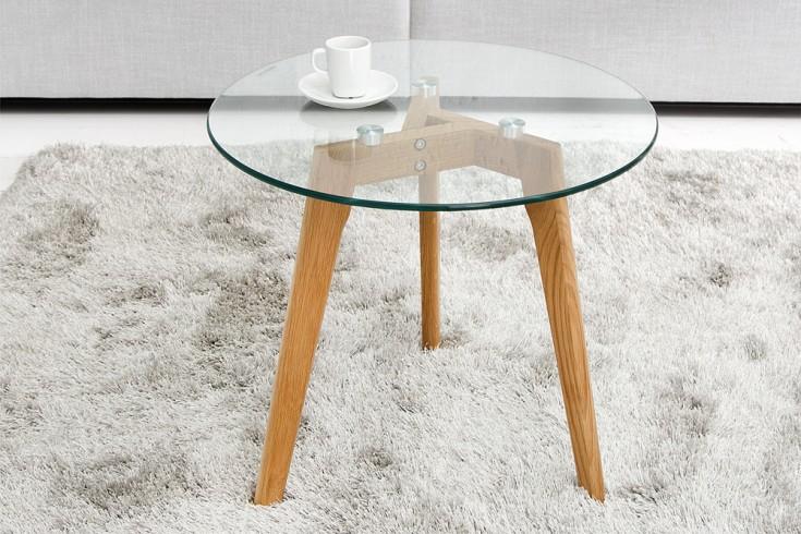 Couchtisch eiche glas rund  Echt Eiche Couchtisch Holz Glas Komposition | Riess-Ambiente.de