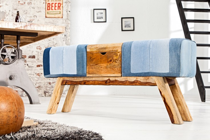 Design Sitzbank TURNBOCK 120 cm in Jeansoptik mit Klappfach