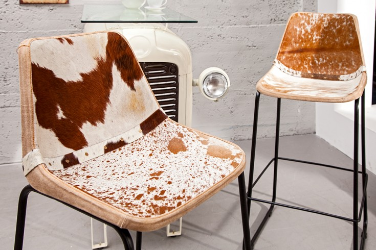 Design Barstuhl TORO hochwertiges Echtfell braun weiß