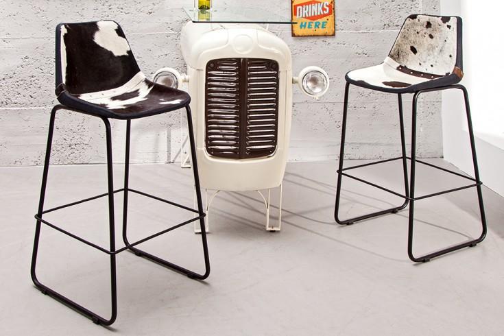 2er Set Design Barstuhl TORO hochwertiges Kuhfell schwarz weiß