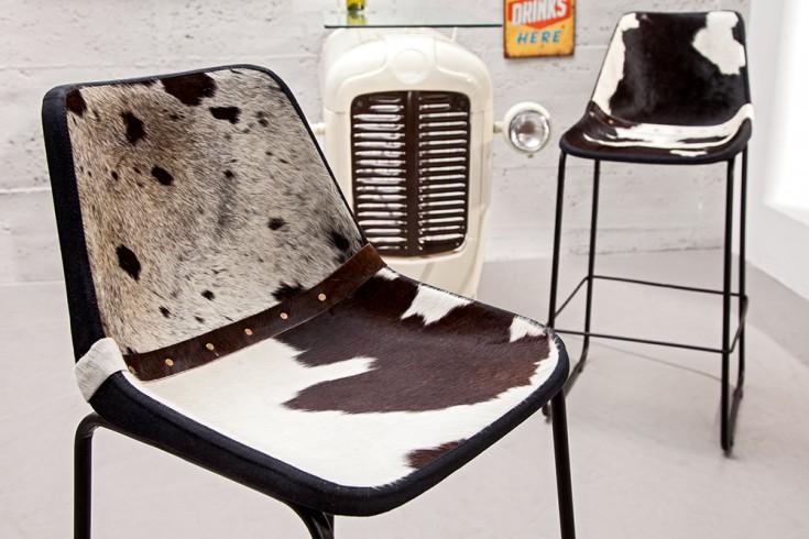 Design Barstuhl TORO hochwertiges Echtfell schwarz weiß