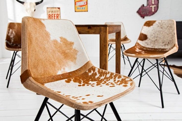 4er Set Design Stuhl TORO hochwertiges Kuhfell braun weiß Eisengestell