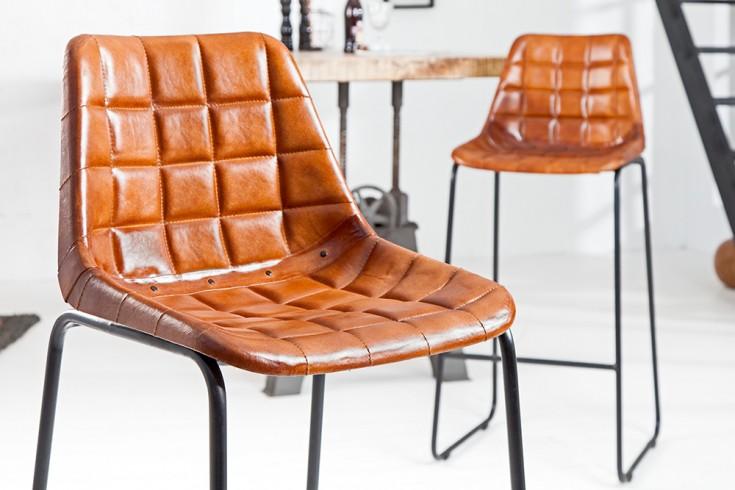 Design Barstuhl TAURUS Echtleder braun gesteppt mit Eisengestell