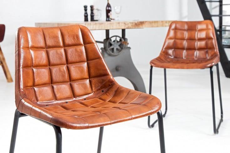 Design Stuhl TAURUS Echtleder braun gesteppt mit Eisengestell