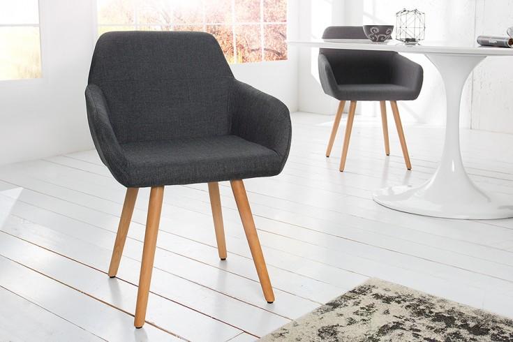 Moderner Stuhl BALTIC Massiv Buche Gestell grau Strukturstoff