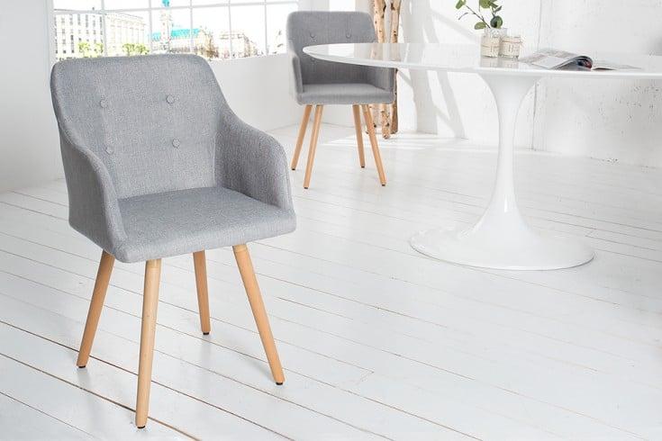 Exklusiver Design Stuhl SCANDINAVIA MEISTERSTÜCK Buche Gestell hellgrau mit Armlehne im Retro Trend