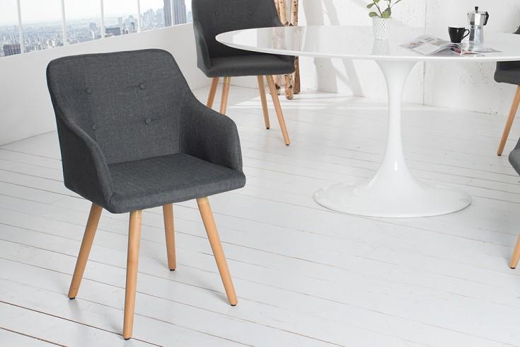 Exklusiver Design Stuhl SCANDINAVIA MEISTERSTÜCK Buche Gestell dunkelgrau mit Armlehne im Retro Trend