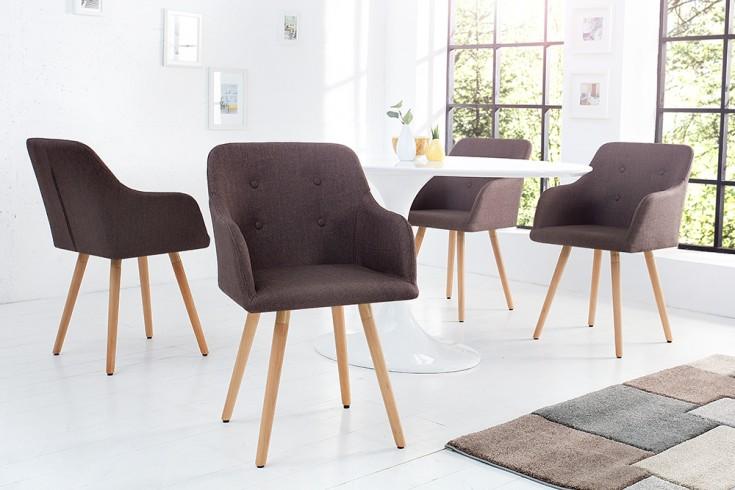 Exklusiver Design Stuhl SCANDINAVIA MEISTERSTÜCK Buche Gestell coffee mit Armlehne im Retro Trend