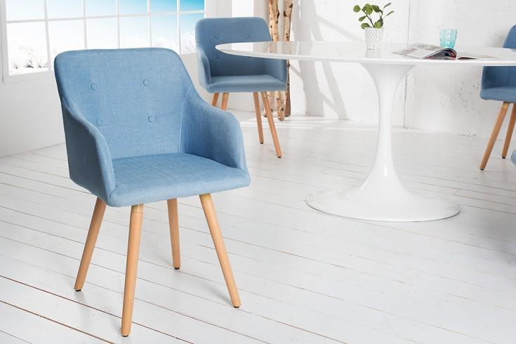 Exklusiver Design Stuhl SCANDINAVIA MEISTERSTÜCK Buche Gestell hellblau mit Armlehne im Retro Trend