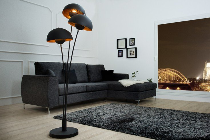 design stehlampe studio iii 170cm schwarz gold lampe mit blattgold riess. Black Bedroom Furniture Sets. Home Design Ideas