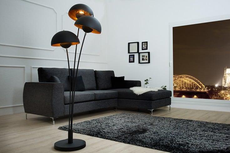 Design Stehlampe STUDIO III 170cm schwarz gold Lampe mit Blattgold