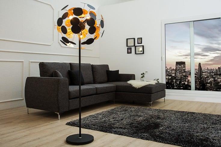 Moderne Design Stehlampe INFINITY HOME 170cm schwarz gold Stehleuchte
