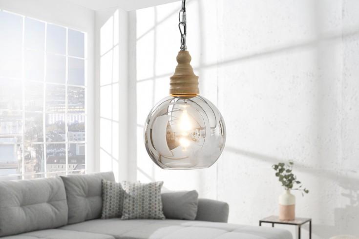 Moderne Hängeleuchte BOLA 65 cm verspiegeltes Glas und Naturholz