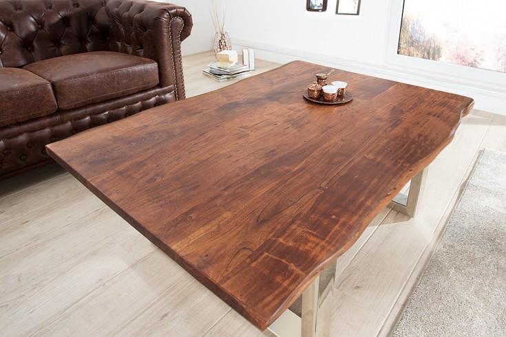 massiver baumstamm couchtisch mammut braun 120cm akazie massivholz verchromtes kufengestell. Black Bedroom Furniture Sets. Home Design Ideas