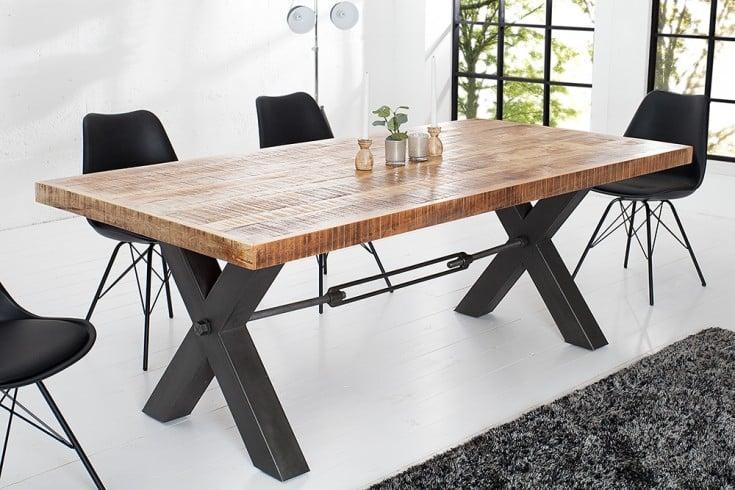 massiver esstisch iron craft eisen massivholz komposition 200cm industrial design riess. Black Bedroom Furniture Sets. Home Design Ideas